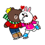 Brown & cony w Snug Winter Data Naklejka 4