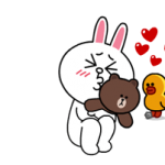 Brown & Cony Lonely Hearts Tanggal Stiker 1