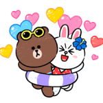 Brown & Cony in Love Autocollants 1