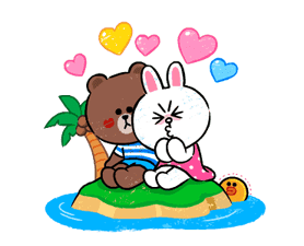 Marrone & Cony in Love Adesivi