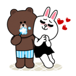 Brown & Cony Lonely Hearts Tanggal Stiker 2