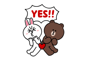 Brown & Cony's Lonely Hearts Date Stickers