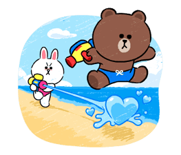 Brown & Cony in Love Stickere 4