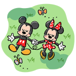 Belle Mickey et Minnie Autocollants 4