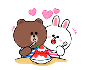 Brown & Cony in Love Stickere 7