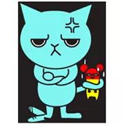 Blue Cat Sticker 15